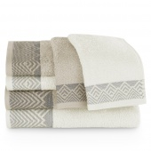 Zestaw ręczników kąpielowych Bawełnianych z bordiurą Biały i Beżowy VIYALI
