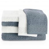 Zestaw ręczników kąpielowych Bawełnianych ze srebrnym zdobieniem Biały i Szary MIDAL