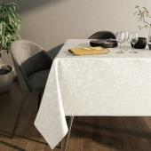 Obrus błyszczący na stół Liście Miłorzębu Oxford Biały JAPANDI