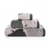 Sorema – Ręcznik Kąpielowy Bawełniany z Ozdobnym Paskiem Beżowy MARBLE