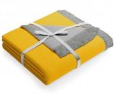 Dwustronny koc z frędzlami Miękka narzuta 150x200 cm Szaro-żółty SAMI
