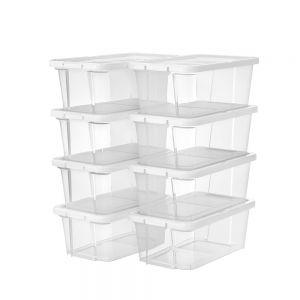 AmeliaHome - Zestaw pudełek do przechowywania 8 sztuk Przezroczystych SIMPLE